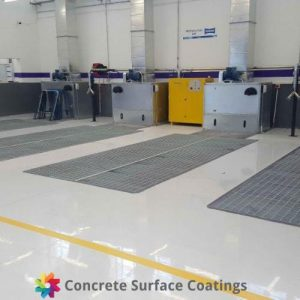 A non slip epoxy floor coating in a mechanical workshop
