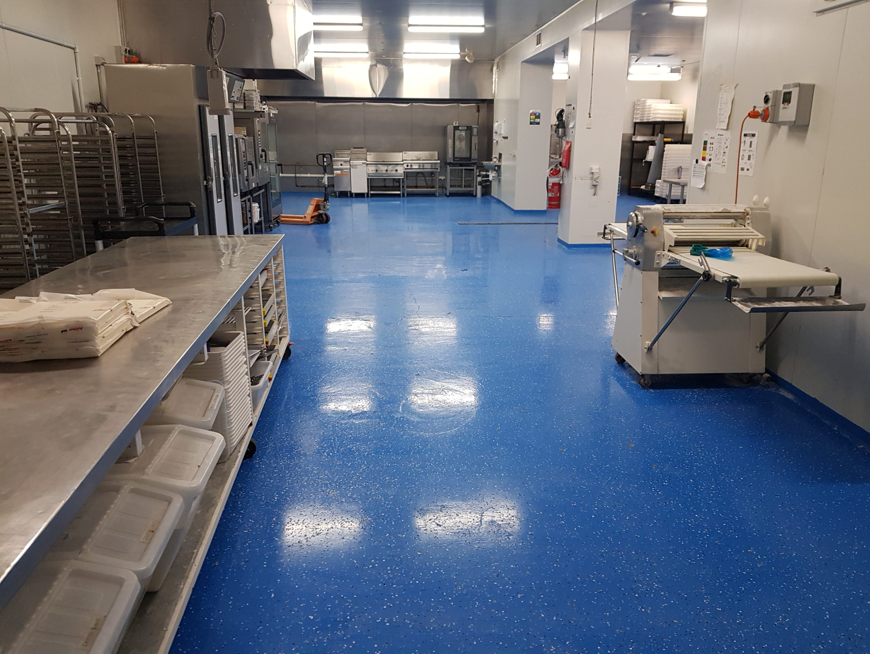 blue polyurethane floor commercial kitchen
