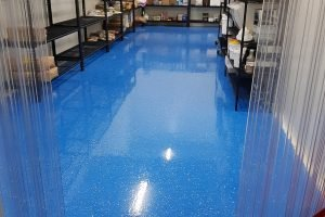 blue epoxy floor