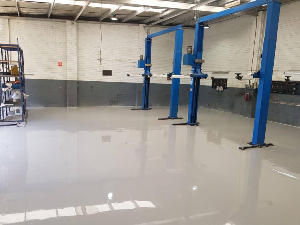 Epoxy Floor Coating in Automotive Workshop in Melbourne 2